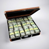 Briefcase with money inside