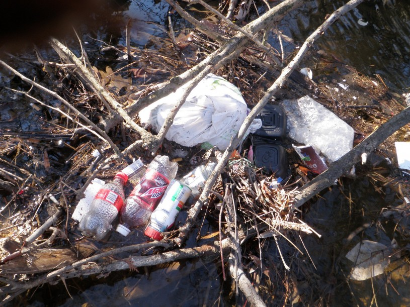 Pollution and trash in a river