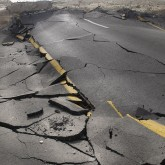 Cracked paved road