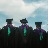 college graduates looking over horizon