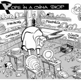 Pope in a China Shop, an OtherWords cartoon by Khalil Bendib