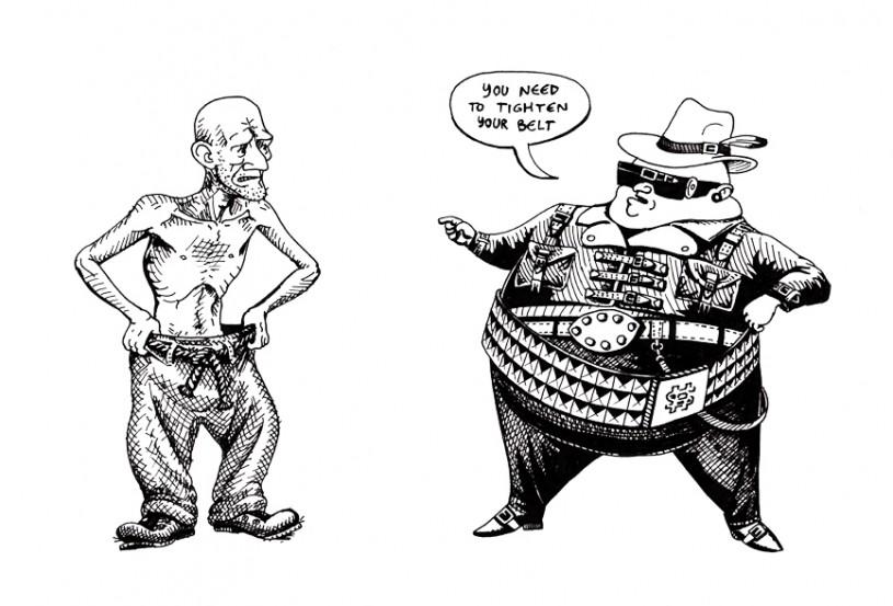 Image result for tighten belt cartoon