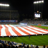 American flag on baseball field