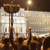 Protesters outside of Greek Parliament