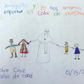 Picture of pope holding hands with children, drawn by child