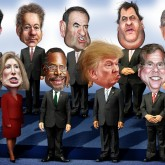 Caricature of GOP candidates