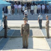 North Korean soldiers stand at DMZ side of border