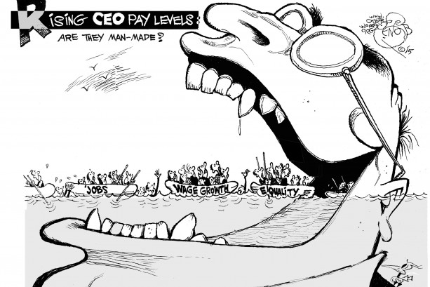 Rising CEO Pay Levels cartoon