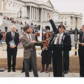 IPS Director John Cavanagh, Director of the Program on Inequality and the Common Good Chuck Collins, and Representative Martin Sabo, 1998.