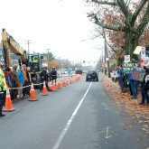 Demonstration to stop Spectra Lateral Gas Pipeline on Washington Street West Roxbury, MA Nov. 12, 2015. (Photo: Ellen Shub)