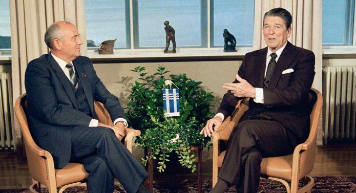 Mikhail Gorbachev and Ronald Reagan